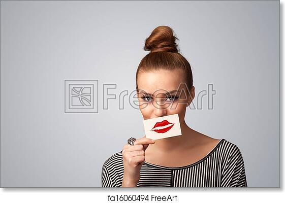 free art print of happy pretty woman holding card with kiss lipstick