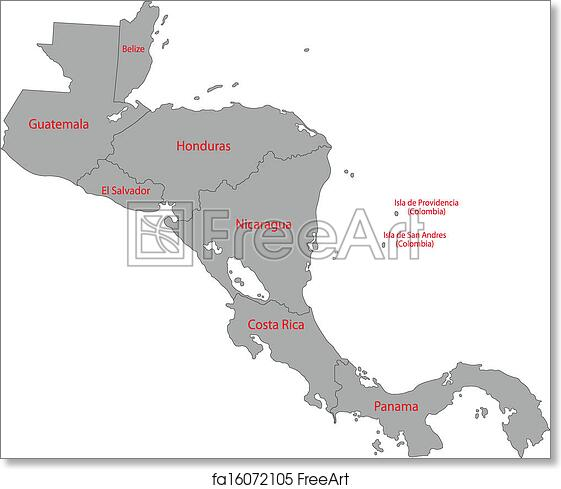 Free art print of Gray Central America map Gray Central America map