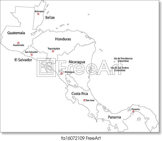 photograph regarding Printable Maps of Central America known as Cost-free artwork print of Contour Central The usa map