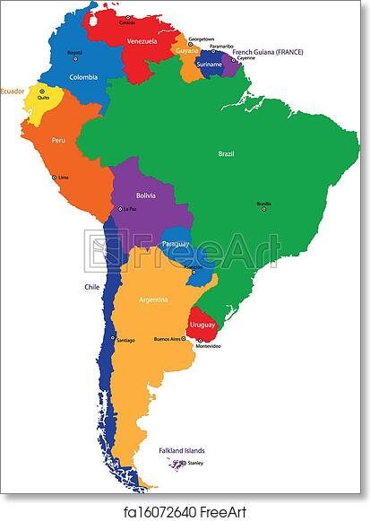 It's just a graphic of South America Printable Map in river