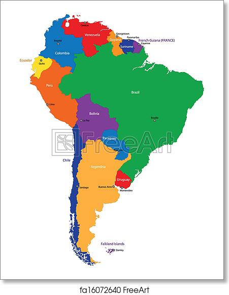 Free Art Print Of South America Map Colorful South America Map With