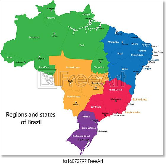 Free Art Print Of Colorful Brazil Map Colorful Brazil Map