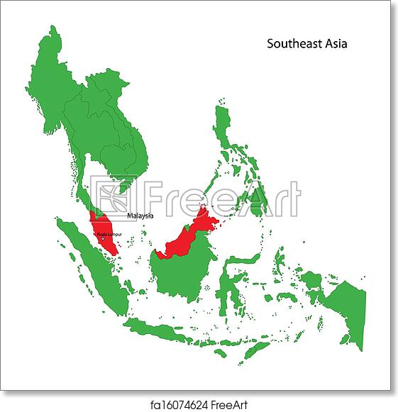Map Of Asia Malaysia.Free Art Print Of Malaysia Map