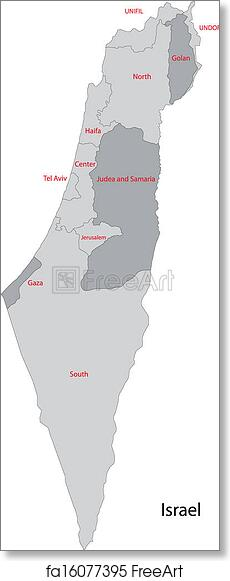 Free art print of Grey Israel map Map of administrative divisions