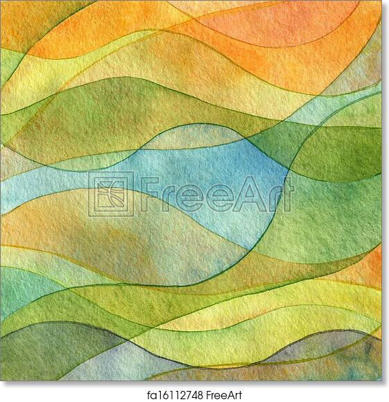 free art print of abstract wave watercolor painted background