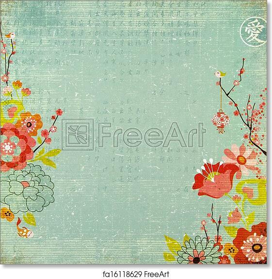 free art print of chinese lotus flower background