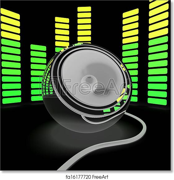 Free art print of Speaker And Graphic Equalizer Shows Pop Music Or Audio