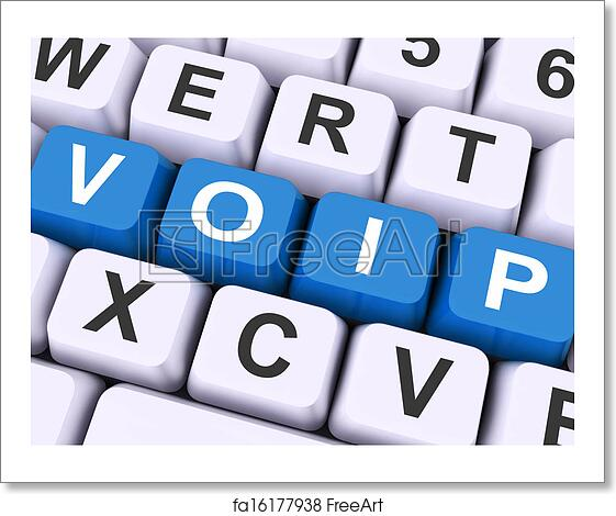 free art print of voip keys on keyboard show voice over internet protocol