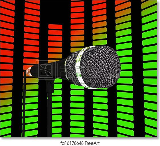 Free art print of Graphic Equalizer And Microphone Showing Pop Music  Soundtrack Or Concert