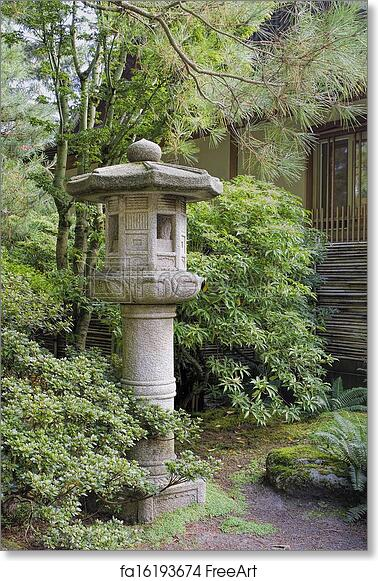 Superieur Free Art Print Of Japanese Stone Lantern In Garden Landscape. Japanese Stone  Lantern In Garden With Trees Plants And Shrubs During Fall Season   FreeArt    ...