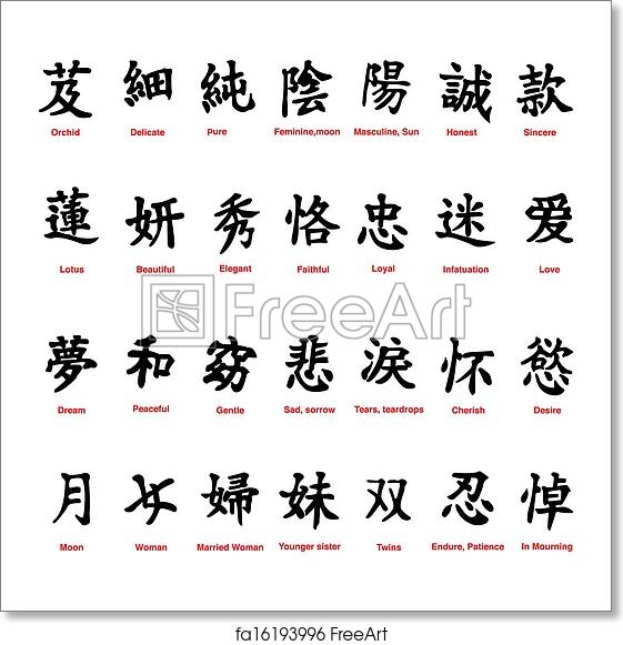 Free Art Print Of Chinese Symbols Collection Of 28 Chinese Symbols