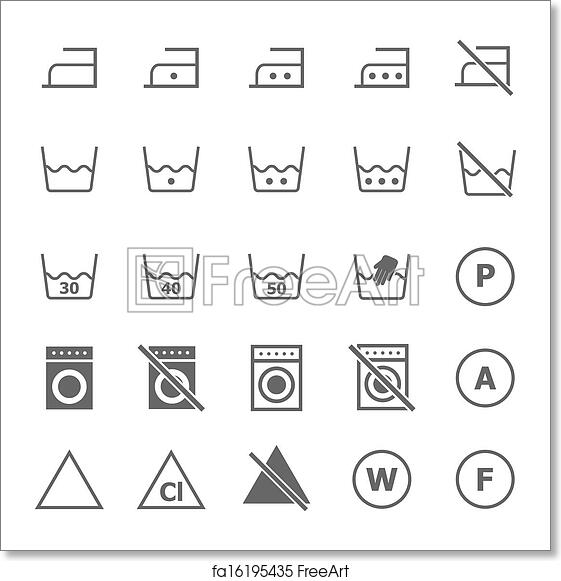 Free art print of Laundry icons on white background ...