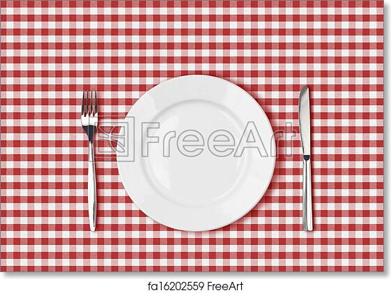 Free Art Print Of Knife White Plate And Fork On Red Picnic Table - Picnic table print
