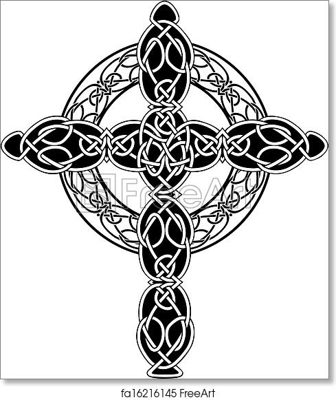 image about Printable Celtic Stencils identified as Absolutely free artwork print of Knotted celtic cross stencil