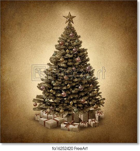 Free Art Print Of Old Fashioned Christmas Tree Old Fashioned