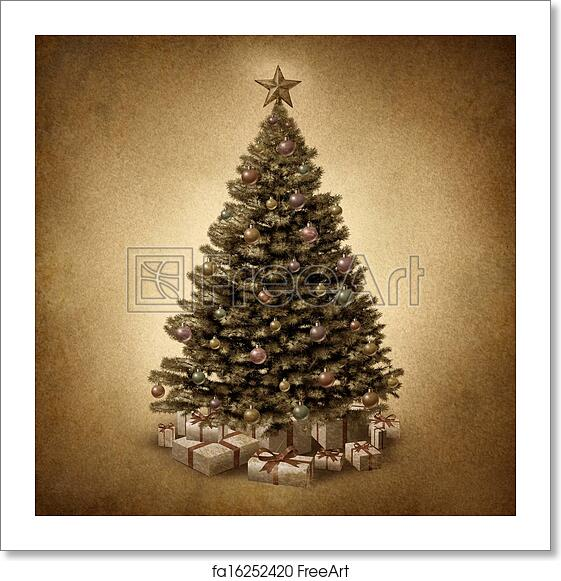 Old Fashioned Christmas Tree Decorations.Free Art Print Of Old Fashioned Christmas Tree