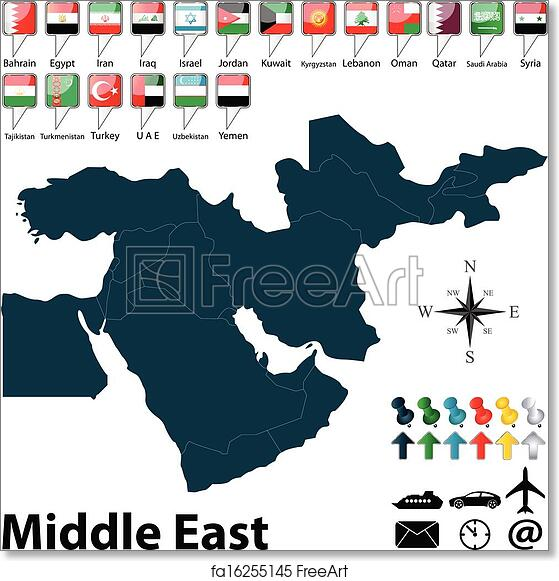 photograph relating to Printable Map of Middle East called Cost-free artwork print of Political map of Centre East