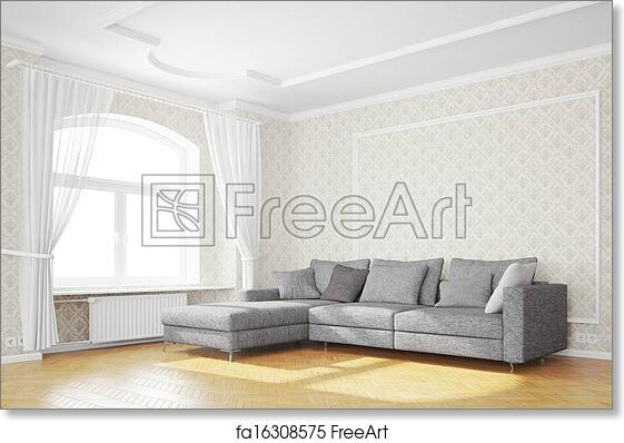 Charming Free Art Print Of Minimal Living Room With Sofa