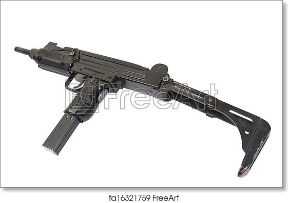 Free art print of UZI submachine gun isolated on white
