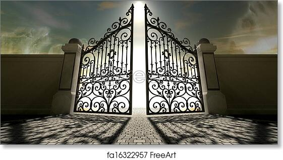 Free art print of Heavens Open Ornate Gates. A set of ... Open Gates Of Heaven Drawing
