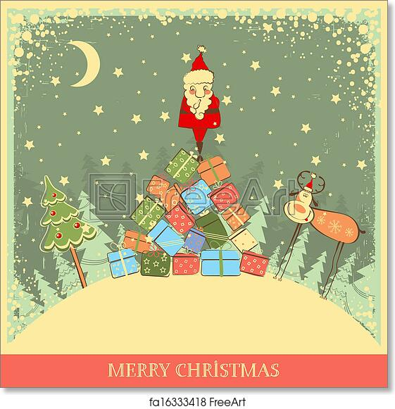 picture regarding Free Printable Funny Christmas Cards identified as Cost-free artwork print of Typical Xmas history with Santa upon outdated card historical past