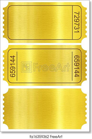 photograph regarding Printable Tickets With Stubs named Absolutely free artwork print of Ticket mounted. Golden ticket stubs fastened isolated upon white with clipping direction bundled.