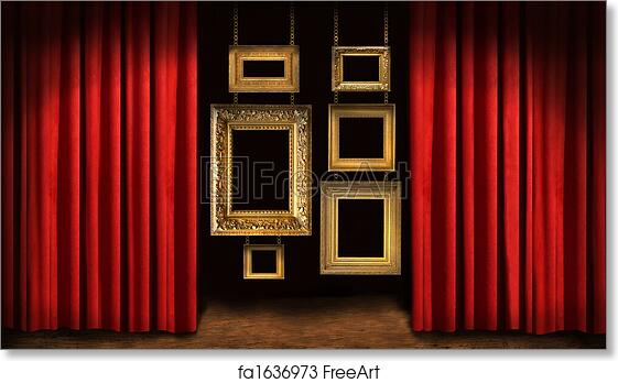 Free Art Print Of Gold Frames With Red Drapes Gold Frames With Red