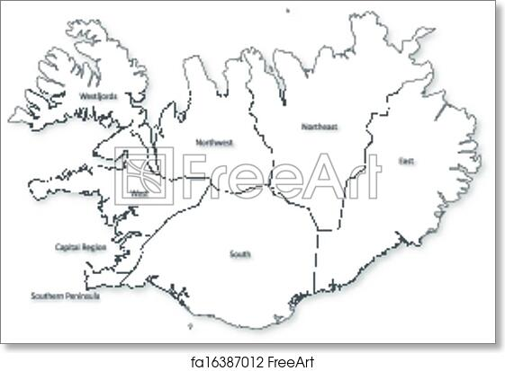 Free art print of Vector map of Iceland with regions.