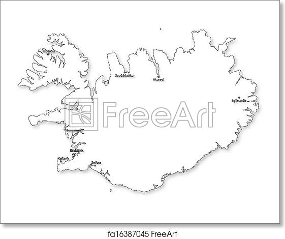 Free art print of Vector map of Iceland with cities. Vector map of ...