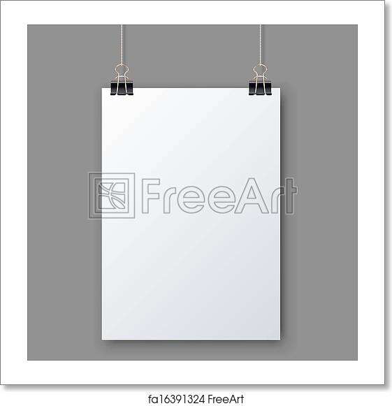 free art print of blank white page hanging against grey background