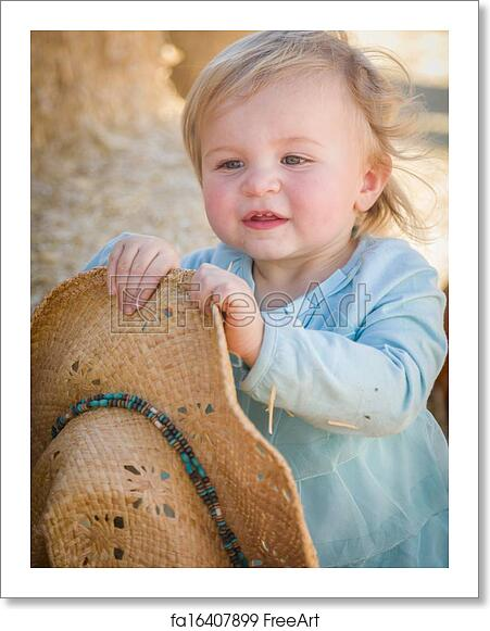 30155d3be53 Free art print of Adorable Baby Girl with Cowboy Hat at the Pumpkin Patch