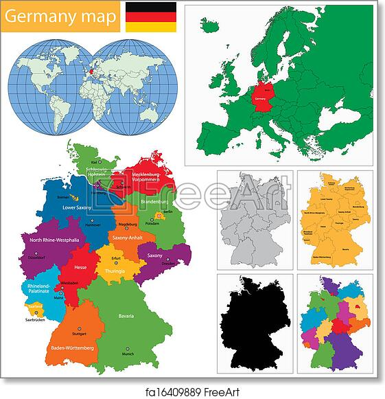 Map Of Germany With Regions.Free Art Print Of Germany Map Germany Map With Regions And Main