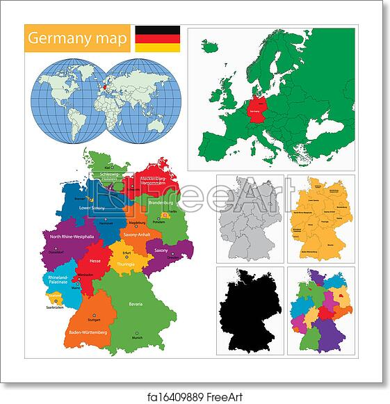 Regions Of Germany Map.Free Art Print Of Germany Map