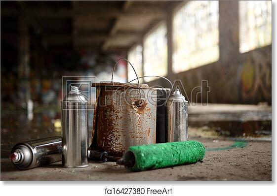 Free art print of Spray Cans and Painting Graffiti Kit Left Over on the  ground