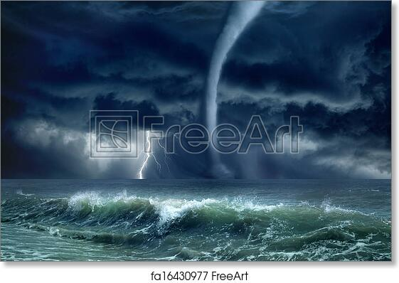 free art print of tornado lightning sea nature force background