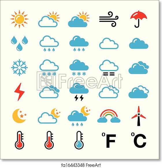 image about Printable Weather Forecast identified as Totally free artwork print of Temperature predict vibrant icons