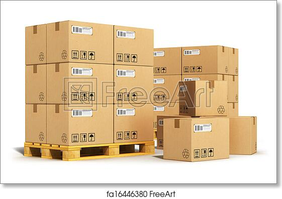 Free art print of Cardboard boxes on shipping pallets