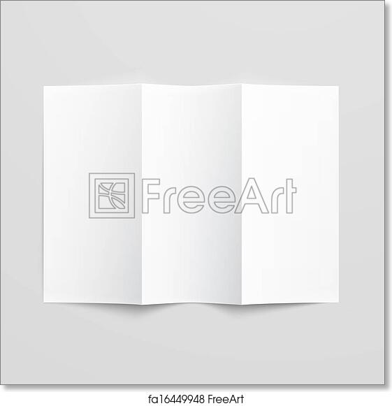 free art print of blank trifold paper brochure white stationery