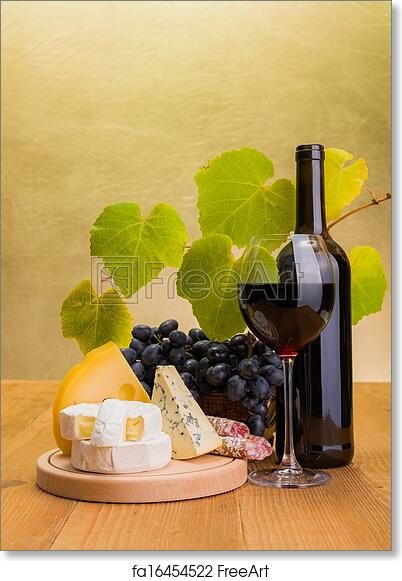 Free art print of Red wine with grape and cheese snack. Red wine in ...