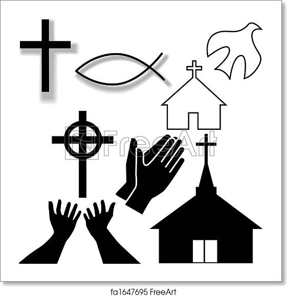 Free Art Print Of Church And Other Christian Symbol Icons Set