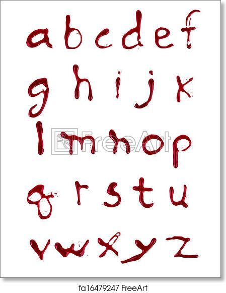 Free art print of Letters A-Z dripping blood on white background | FreeArt | fa16479247