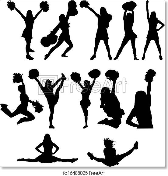 Free Art Print Of Cheerleader Silhouette Set Cheerleader Silhouette