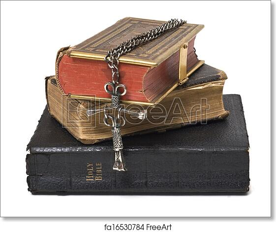 Free art print of Antique Bibles & Cross