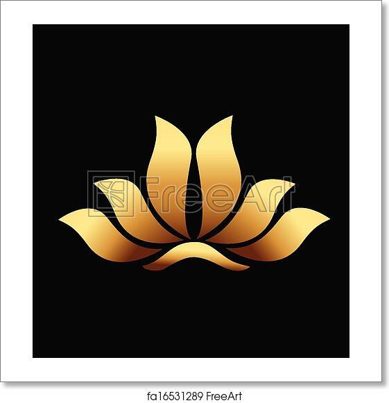 Free Art Print Of Yoga Gold Lotus Flower Logo Vector Of Yoga Gold