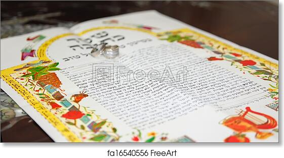 Free Art Print Of Traditional Jewish Wedding Signing Prenuptial Agreement Ketubah Marriage Contract