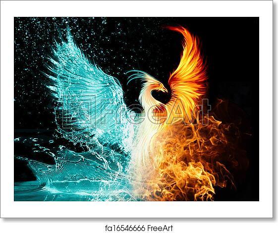 free art print of phoenix phoenix flame water freeart fa16546666