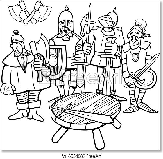 Free Art Print Of Knights Of The Round Table Coloring Page Black