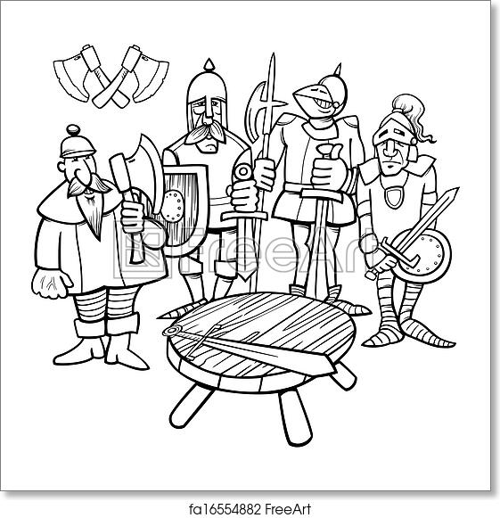 Free Art Print Of Knights The Round Table Coloring Page