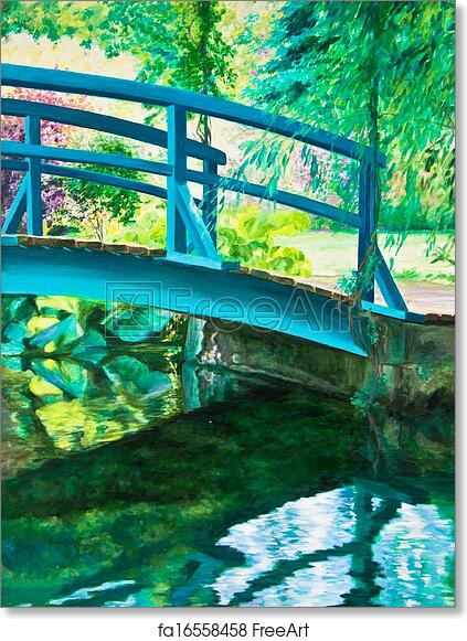 Water Lilies and the Japanese Bridge at Giverny Claude Monet Poster 11x14