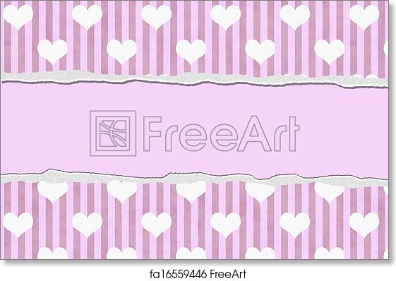 free art print of pink hearts torn background for your message or